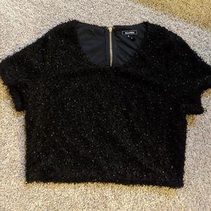Soiéblue Black Fuzzy Crop top, size large